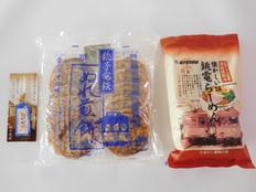 ぬれ煎餅 青のうす口味10枚入・銚電ラーメン・開運切符セットの画像