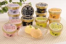 「乳蔵」北海道アイスクリーム(プレミアムバニラ90ml×4、赤肉メロン、青肉メロン、ハスカップ、いちご各90ml×2)の画像