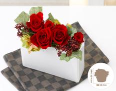 日付指定可!お誕生日など、お祝いに最適!プリザーブドフラワー スクエアルージュの画像